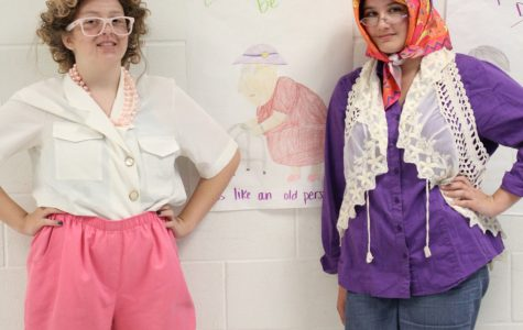 Olivia S. and Avery T. dress up for Red Ribbon Week.
