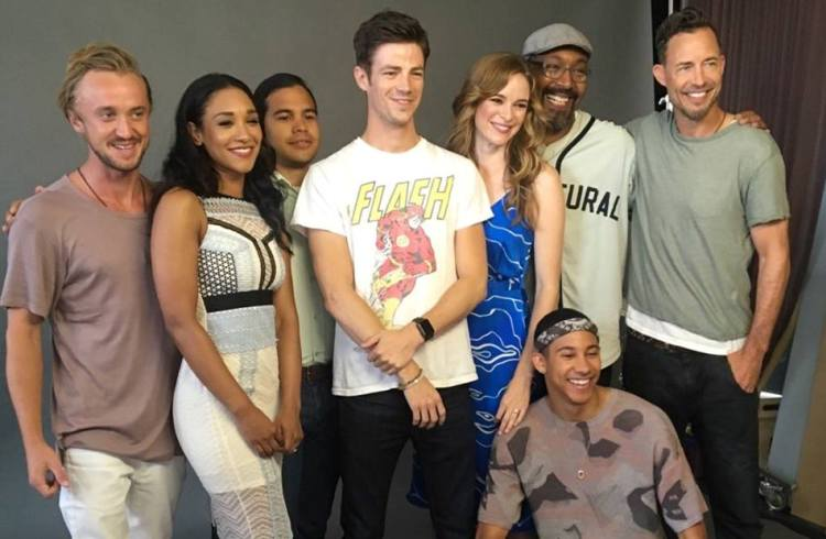 """The Flash"" cast. Left to Right:Tom Felton,Candice Patton,Carlos Valdes,Grant Gustin,Danielle Panabaker,Jesse L. Martin,Tom Cavanagh,and below is Keiyan Lonsdale."