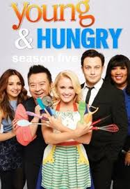 This is the main cast on Young and Hungry. From left to right is Sofia Rodriguez (Aimee Carrero), Elliot Park (Rex Lee), Gabi Diamond (Emily Osment), Josh Kaminski (Jonathan Sadowski), and Yolanda (Kym Whitley).