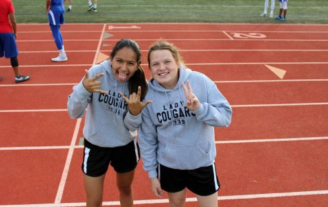 Students have fun during the track meet.