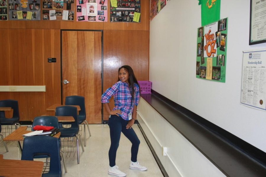Kalea Ajel poses for a quick picture in theater