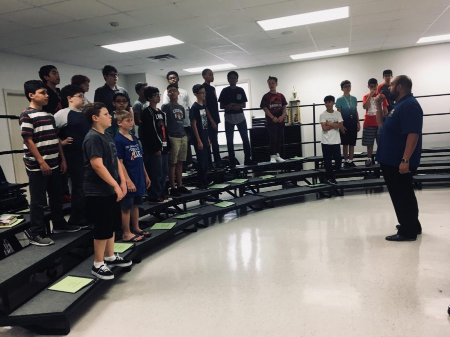 Male Choir students are doing warm-ups in Mr. Contrera's 5th period class.