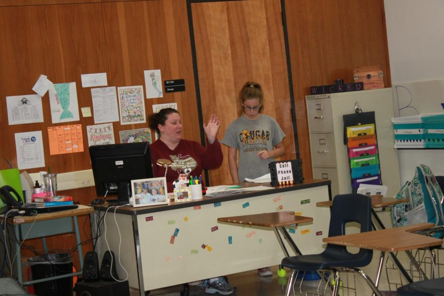 Mrs.Chitta and Kimberly Wagner discuss about props and setting the stage