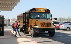 Students board the bus at Dobie Jr. High after school on Oct. 13.