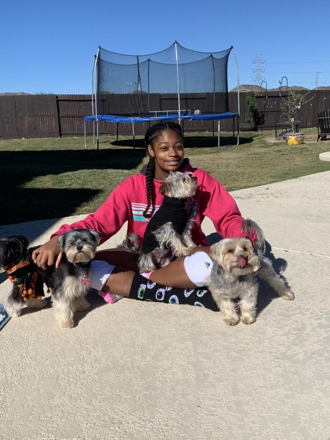 Leah Bryant with her pets
