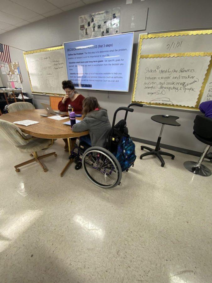 Kyla works in class.